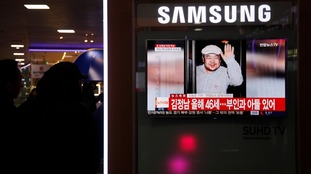 News program about the death of Kim Jong Nam, the older half-brother of the DRPK leader and the eldest son of late leader Kim Jong Il, is seen on TV at the Railway Station in Seoul, South Korea, Feb. 14, 2017.