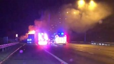 A lorry has caught fire on the A1M