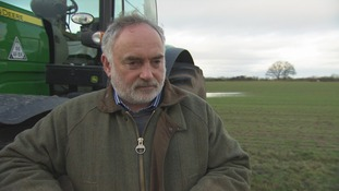 Farmer stands in front of tractor in field