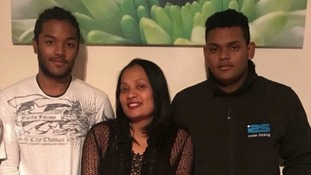 Mary Ragoobeer (centre) was killed alongside her sons Sean (left) and Shane (right).
