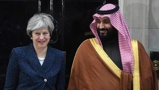 Theresa May and Mohammad bin Salman