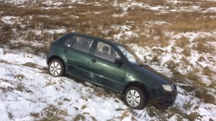 Car leaves the A59 midway between Skipton and Harrogate