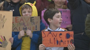 Schoolchildren join the campaign to save local libraries