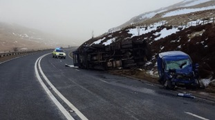 The scene of the crash at Shap summit