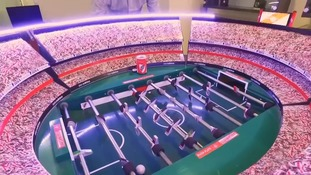 Designer recreating famous stadiums for table football