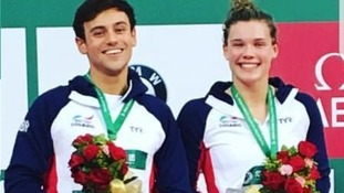 Tom Daley and mixed synchro partner Grace Reid.