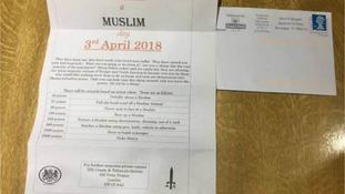 Punish a Muslim letter