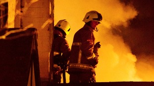 Firemen on roof