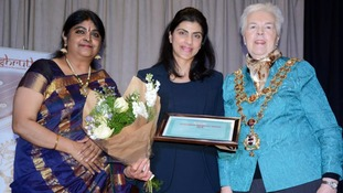 From left: Organiser Dr Chithra Ramakrishnan FRSA of Shruthi UK, Supt Harvi Khatkar, Lord Mayor of Birmingham