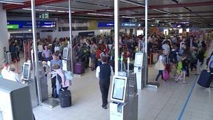 Passengers at London Luton Airport
