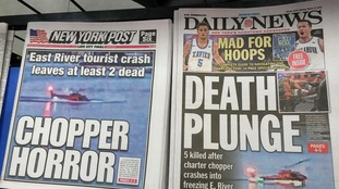 Front pages on Monday, March 12, 2018 of the New York Daily News and the New York Post report on the previous days accident where a helicopter crashed into the East River killing five on board.