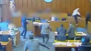 Shocking CCTV footage shows moment man was shot inside a US courtroom