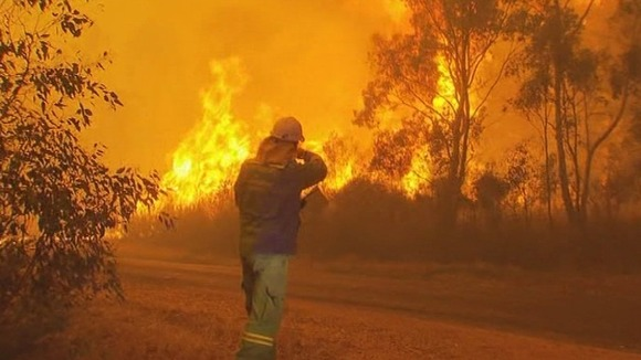 A firefighter assesses a wildfire in Gippsland, Victoria.