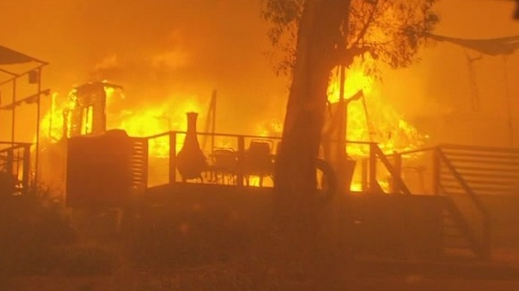 Firefighters are unable to put out a home ablaze in Gippsland, Victoria.