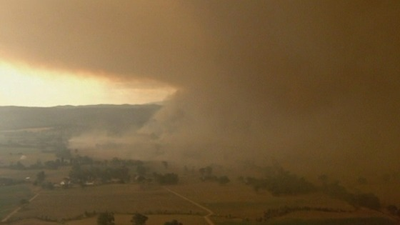 The fire in Gippsland, Victoria, seen from the air.