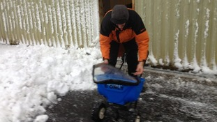 Frasier, the base engineer, tends to a gritting device