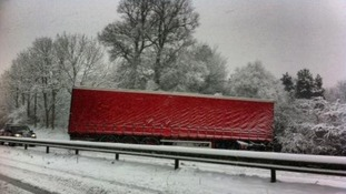 A lorry blocks the A40 in Abergavenny in Wales