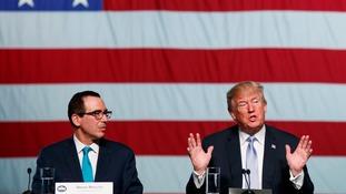 Treasury Secretary Steven Mnuchin and Donald Trump.