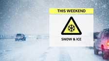 Snow and ice warning for the weekend. Issued by the Met Office.