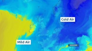 Cold air pushing across Europe