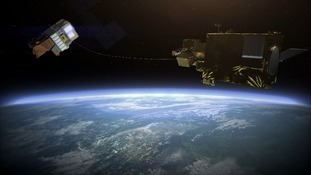 A concept of how space junk could be harpooned
