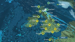 Weather: Sunshine and showers in the south and west, some heavy in places