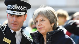 Britain's Prime Minister Theresa May visits the city where former Russian intelligence officer Sergei Skripal and his daughter Yulia were poisoned with a nerve agent, in Salisbury.