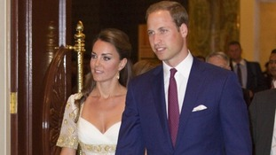 The Duke and Duchess of Cambridge pictured attending a royal banquet in Malaysia.