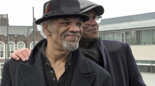 Actors Paul Barber and Louis Emerick attend the funeral of Eddy Amoo