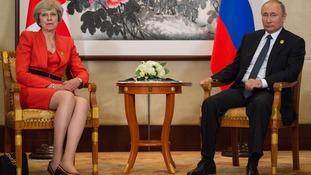Theresa May and Vladimir Putin at a news conference in 2016.