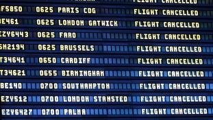 Archive photo of departure board at Newcastle airport.