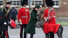 Heavily pregnant Kate braves snow to mark St Patrick's Day