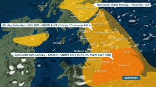 shaded areas of northern England to show weather warnings for Saturday