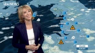 Emma Jesson in front of Granada weather graphic
