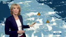 Emma Jesson in front of  Calendar North weather graphic