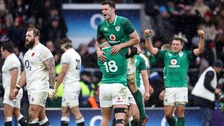 Ireland's Andrew Porter and James Ryan celebrate winning.