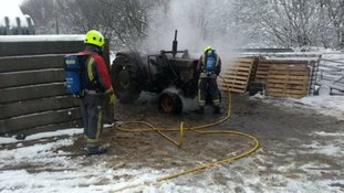 The tractor fire was quickly dealth with