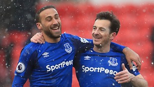 Cenk Tosun thanks Duncan Ferguson after scoring four goals in three games for Everton
