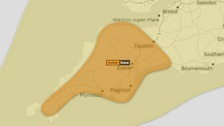 Exeter is in the middle of Amber Warning area for snow on Monday