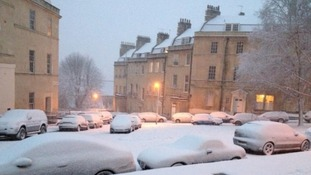 An area of Bath is submerged in snow.
