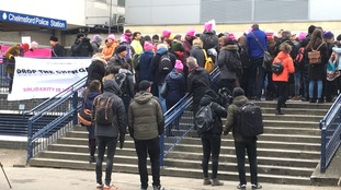 Activists gather outside court as trial of Stansted Airport protestors begins
