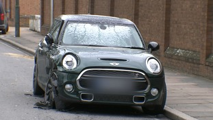 A Mini at the scene of the crash on Monday.