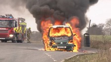 Car bursts into flames in Hertfordshire