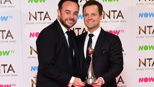 Ant and Dec celebrate winning Best Entertainment Programme for Saturday Night Takeaway at the 2017 National Television Awards.
