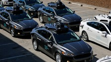 "Fleet of of self driving Uber vehicles in 2016. Company says it is ""fully cooperating"" with investigation"