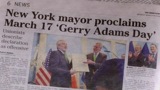 Gerry Adams honoured by Bill de Blasio in New York City