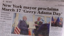 Gerry Adams honoured by Bill de Blasio in New York City