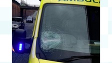 Ambulance crew injured after being hit with metal ball
