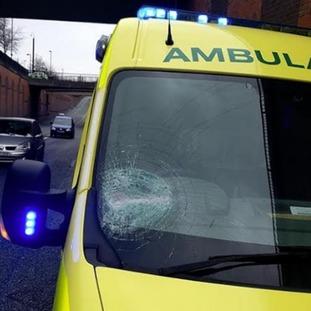 The damaged ambulance