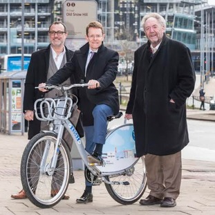 Julian Scriven of Nextbike, Mayor of the West Midlands Andy Street and Councillor Roger Lawrence.